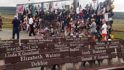 The temporary memorial for the victims of Flight 93 in Somerset contains 35,000 tributes left by visitors.