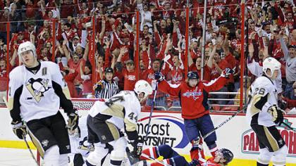 Penguins center Evgeni Malkin, left, had just two shots on Capitals goalie Simeon Varlamov and was on the ice for both of Washington&#039;s even-strength goals.