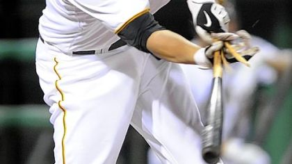 Freddy Sanchez&#039;s bat breaks as he pops out last night in the Pirates&#039; rain-delayed victory vs. Colorado.