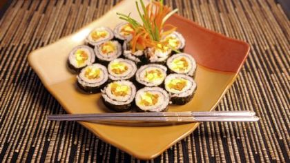 The Golden Pig in Cecil offers sushi-like but cooked rolls, in either beef or vegetable, called gimbop.