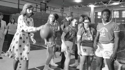 In this Feb. 28, 1975, photo, Mrs. Shriver -- who founded the Special Olympics -- plays basketball with developmentally disabled children from the Margaret Chapman School in Hawthorne, N.Y.