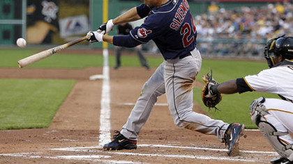 Indians outfielder Grady Sizemore connects on a third-inning pitch from Ian Snell for a two-run triple last night.