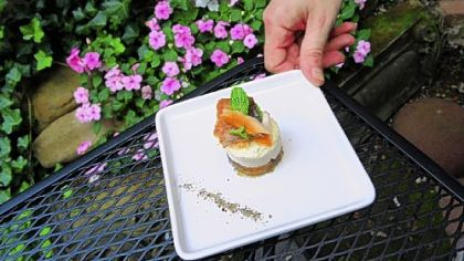 Smoked Trout with Jalapeno/peach Gelee, corn mousse and mint.