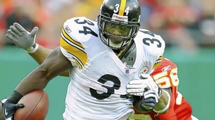 Steelers running back Rashard Mendenhall accounted for 116 yards combined rushing and receiving yesterday.