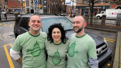 Tony Ciotti, Danielle Danzuso and Mike Conley join forces as Pear Transportation Co. near the 18th and Carson streets intersection on the South Side.