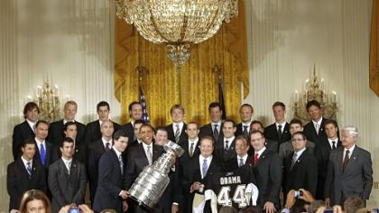 President Barack Obama held a ceremony to honor the 2009 Stanley Cup champion Penguins in the East Room of the White House Sept. 10.