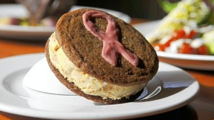 Dulce de Leche Ice Cream Sandwich with pink ribbon --proceeds go to fund breast cancer awareness.