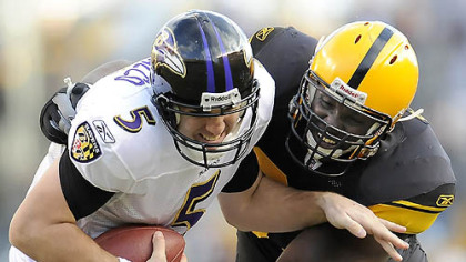 Steelers defensive end Nick Eason sacks Ravens quarterback Joe Flacco during the Steelers&#039; 23-20 victory yesterday against Baltimore at Heinz Field.