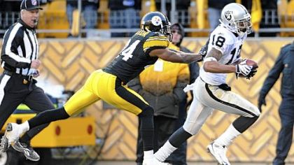Steelers cornerback Ike Taylor tries to push Raiders wide receiver Louis Murphy out of bounds as he runs for a touchdown in the fourth quarter yesterday at Heinz Field.