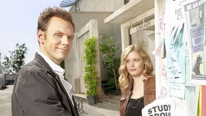 "Joel McHale plays Jeff and Mt. Lebanon native Gillian Jacobs plays Britta in NBC's ""Community."""