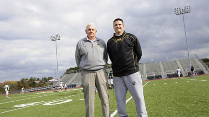 North Allegheny assistant coach Art Walker, with his son, head coach Art Walker.