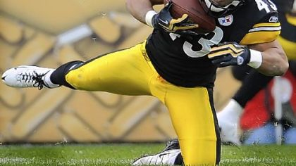 Steelers safety Troy Polamalu intercepts a pass against the Cleveland Browns Sunday.