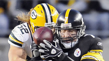If Ben Roethlisberger can avoid big hits like this one from the Packers' Clay Matthews, he'll be able to make the 4,000-yard passing mark this weekend, a big bonus for the team's hopes of averaging one point for every minute of possession time.