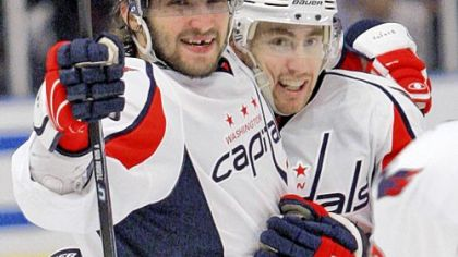 The Washington Capitals' Alex Ovechkin, left, celebrates with teammate Tomas Fleischmann, after scoring a goal against the New York Rangers last month.