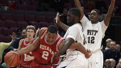 Indiana forward Christian Watford tries to drive around Pitt forward Dwight Miller in the second half.