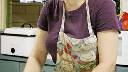 Brandy Clark bakes grape pies on Tuesday for Old Economy Village's Erntefest.