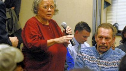 Jeannette Stanton, 80, a lifelong resident of Braddock, speaks about closing UPMC Braddock Hospital at Tuesday&#039;s meeting.
