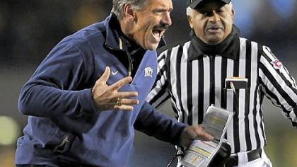 Pitt coach Dave Wannstedt looks for a holding call against West Virginia in the first quarter last night at Mountaineer Field in Morgantown, W.Va.