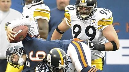 Steelers safety Tyrone Carter sacks Bears quarterback Jay Cutler during a 17-14 loss in Chicago Sept. 20.