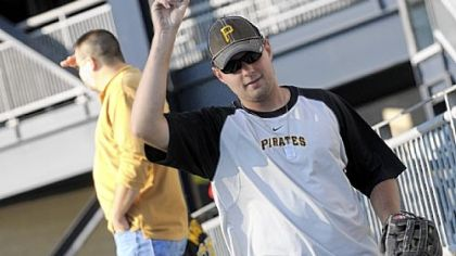 Nick Pelescak celebrates catch No. 300 in the center field bleachers at PNC Park. Mr. Pelescak has been &quot;competitively collecting&quot; in the ballhawk league since last season.