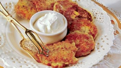 Zucchini latkes, a variation on the potato latkes that are traditionally served during the Jewish holiday.