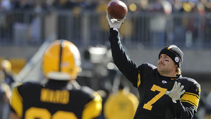 Ben Roethlisberger throws passes to Hines Ward during warmups before their game against the Ravens at Heinz Field.
