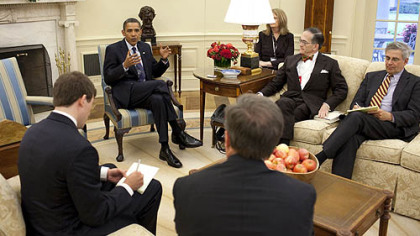 In an Oval Office interview, President Barack Obama answers questions from, clockwise: John Robinson Block, publisher and editor-in-chief of the Pittsburgh Post-Gazette; David Shribman, executive editor, Post-Gazette; Dave Murray, special projects editor, The (Toledo) Blade; and Daniel Malloy, of the Post-Gazette&#039;s Washington bureau.