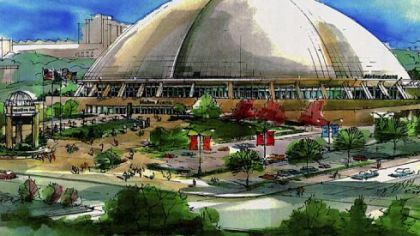 A drawing of Mellon Arena, home of the Penguins.