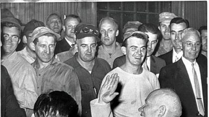 Nikita Khrushchev meets steelworkers at Mesta Machine in West Homestead in 1959.