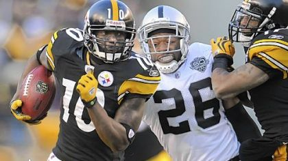 Receiver Santonio Holmes needs 13 yards receiving tonight to go over 1,000 for the season.