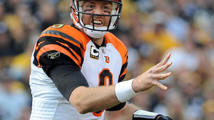 Bengals quarterback Carson Palmer throws against the Steelers in the third quarter.