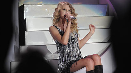Taylor Swift sings &quot;Our Song&quot; and &quot;Here&#039;s to You.&quot;