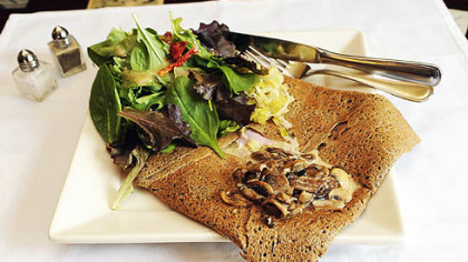 The Paris 66 cafe&#039;s Champs Elysees crepe made with buckwheat and filled with egg, ham and cheese and topped with mushrooms. The 150-year-old recipes come from owner Fred Rongier&#039;s family in France.