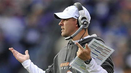Denver Broncos head coach Josh McDaniels gestures in the fourth quarter of the Nov. 1 game against the Baltimore Ravens in Baltimore.