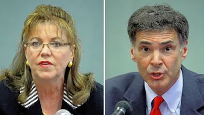 Pennsylvania Supreme Court candidates Joan Orie Melvin, left, and Jack Panella.