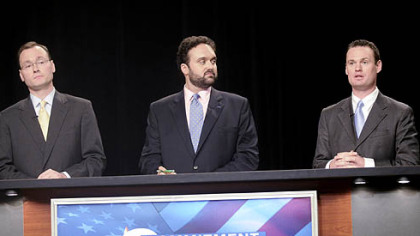 Mayoral candidates, from left,  Kevin Acklin, Franco Dok Harris and Luke Ravenstahl debate in the WTAE studio yesterday.