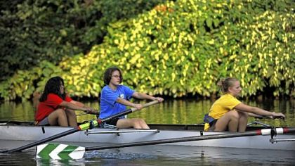 Taylor Allderdice novice rowers from left Genesis Bola, 15, Mara Greenberg, 14, and Chelsea Biefeld, 13, practice on the Allegheny River.