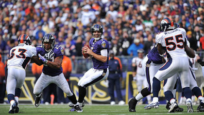Quarterback Joe Flacco led the Ravens to a 30-7 home win against the Broncos yesterday.