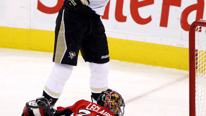 Penguins forward Jordan Staal celebrates his goal on Senators goaltender Pascal Leclaire during the first period.