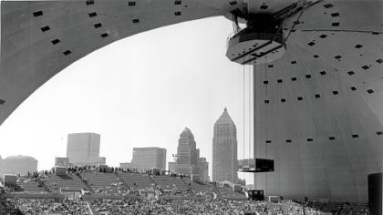 The Pittsburgh skyline from within an open-air Civic Arena at opening ceremonies.
