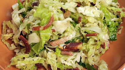Speck gives a kick to a salad made with Savoy cabbage and red-wine vinegar.  Both dishes are included in Lidia Bastianich&#039;s new book &quot;Lidia Cooks From the Heart of Italy: A Feast of 175 Regional recipes.