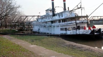 A photo of The Becky Thatcher, a 220-foot-long riverboat and a National Historic Landmark. The new owner, Jeff Levin, plans to have the boat towed from Marietta, Ohio, to Neville Island in Pittsburgh.