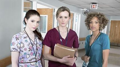 "Portraying nurses in ""Mercy"" are, from left, Michelle Trachtenberg as Chloe Payne, Taylor Schilling as Veronica Flanagan Callahan and Jaime Lee Kirchner as Sonia Jimenez."