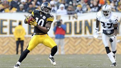 Santonio Holmes has 3,667 receiving yards in four seasons with the Steelers.