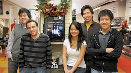 Carnegie Mellon students, Kevin Chia, Philip Croul, Carolyn Fu, Jonathan Ma and Vincent Sethiwan invented a Smart.Mirror to help coordinate clothing in a store.  This computer is in the Charles Spiegel for Men store in Squirrel Hill.