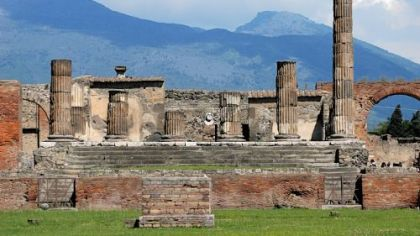 The Temple of Apollo, built around 500 B.C., is one of the most ancient in Pompeii.
